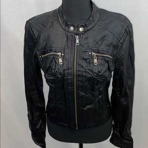 Guess Faux leather black moto  jacket with silver